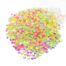 Round Flat-back Rhinestone Beads 3mm - AB Rainbow
