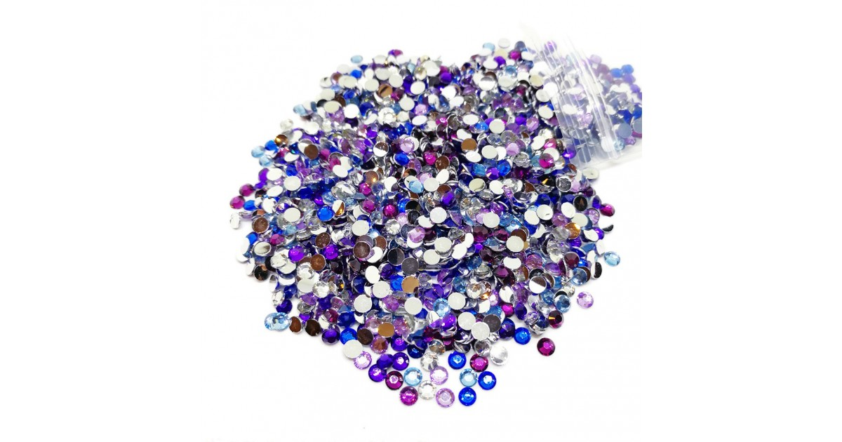 Round Flat-back Rhinestone Beads 3mm - Gradual Purple-Blue