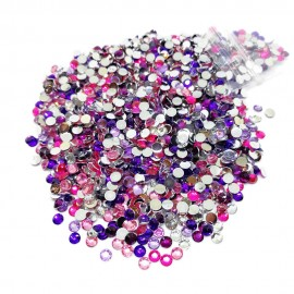 Round Flat-back Rhinestone Beads 3mm - Gradual Purple-Pink
