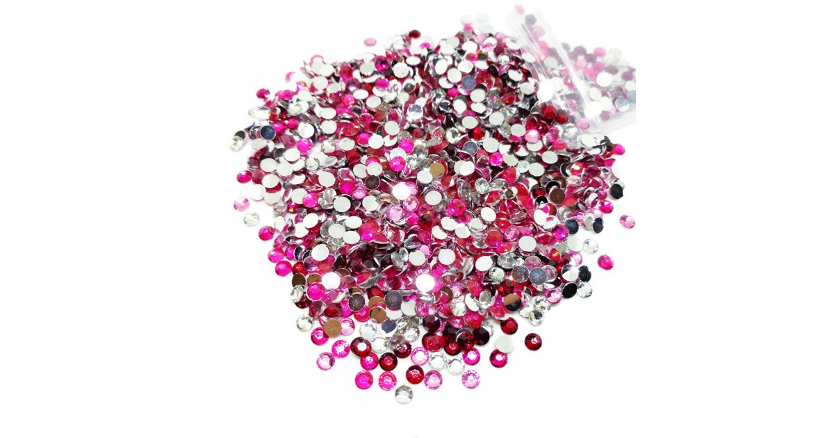 Round Flat-back Rhinestone Beads 3mm - Gradual Pink