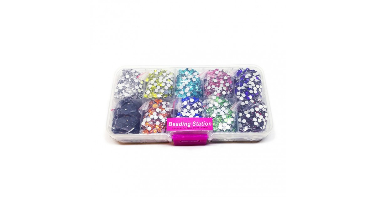 Box of 10-Color Rhinestones 3 mm