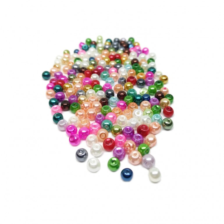 Tiny Satin Luster Glass Pearl Round Beads 4 mm - Assorted Colors