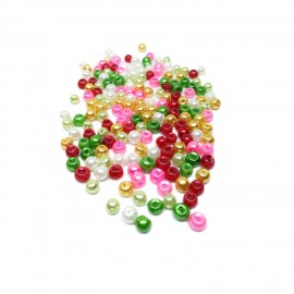 Tiny Satin Luster Glass Pearl Round Beads 4 mm - Christmas Colors