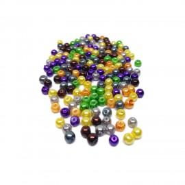 Tiny Satin Luster Glass Pearl Round Beads 4 mm - Halloween Colors