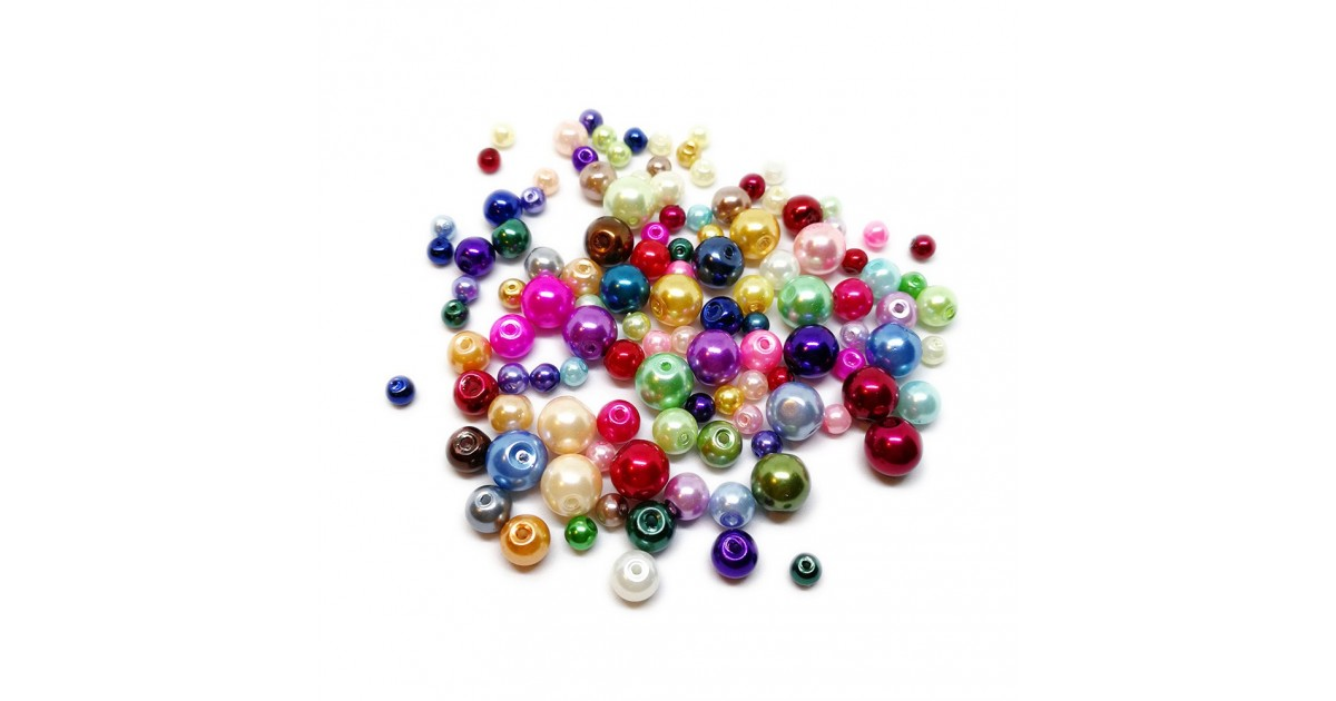 Mixed-size Satin Glass Pearl Round Beads 4 mm, 6 mm and 8 mm - Assorted-Colors