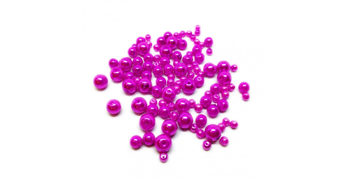 Mixed-size Satin Glass Pearl Round Beads 4 mm, 6 mm and 8 mm - Hot Pink