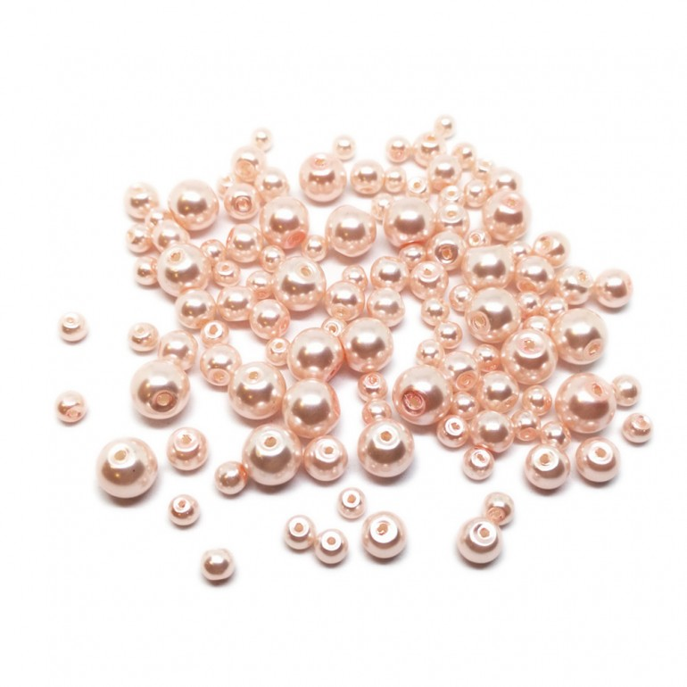 Mixed-size Satin Glass Pearl Round Beads 4 mm, 6 mm and 8 mm - Light Pink
