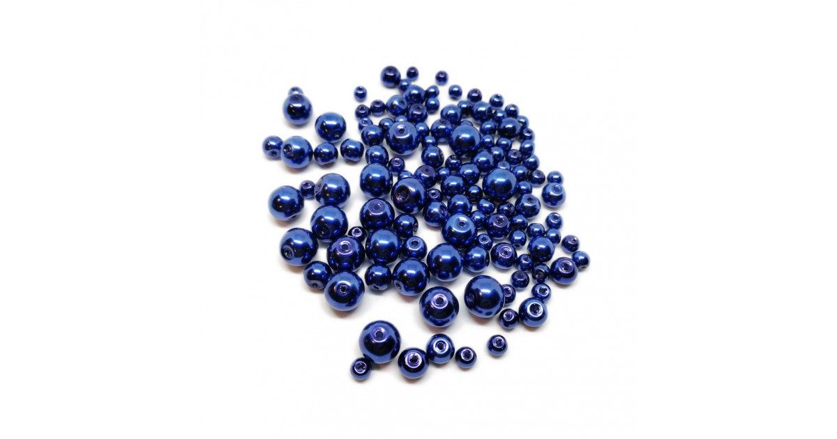 Mixed-size Satin Glass Pearl Round Beads 4 mm, 6 mm and 8 mm - Navy Blue