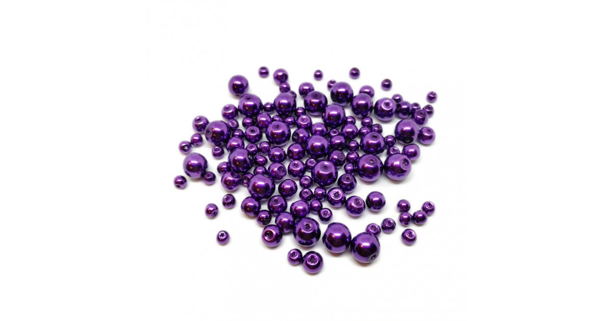 Mixed-size Satin Glass Pearl Round Beads 4 mm, 6 mm and 8 mm - Lavendar Purple