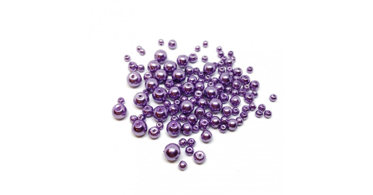 Mixed-size Satin Glass Pearl Round Beads 4 mm, 6 mm and 8 mm - Violet