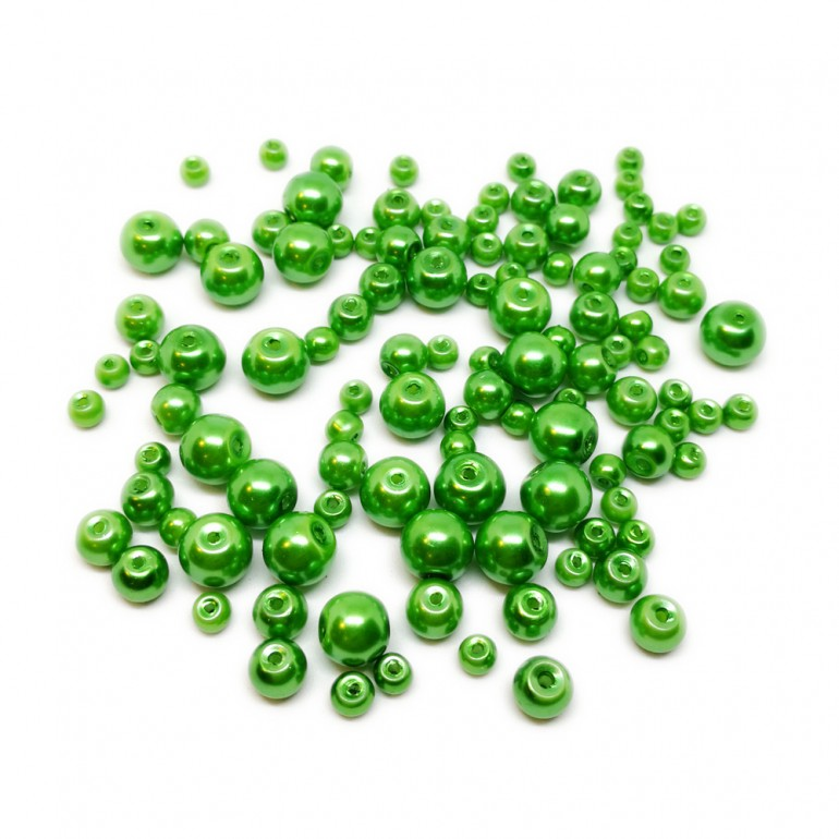 Mixed-size Satin Glass Pearl Round Beads 4 mm, 6 mm and 8 mm - Forest Green