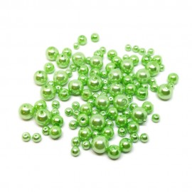 Mixed-size Satin Glass Pearl Round Beads 4 mm, 6 mm and 8 mm - Light Green