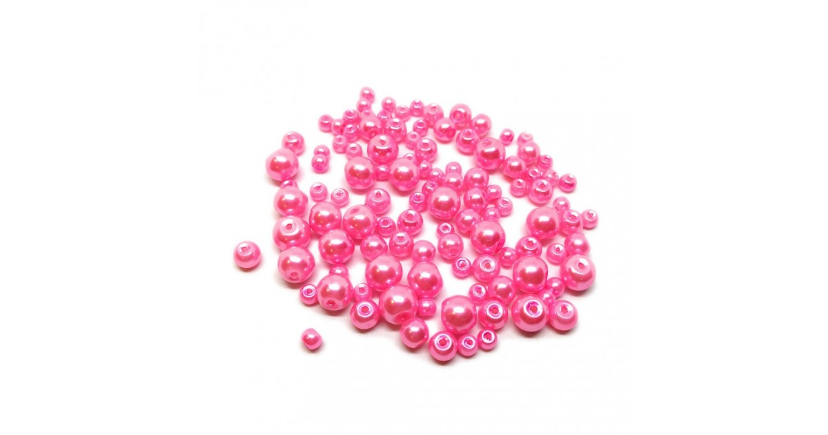 Mixed-size Satin Glass Pearl Round Beads 4 mm, 6 mm and 8 mm - Pink