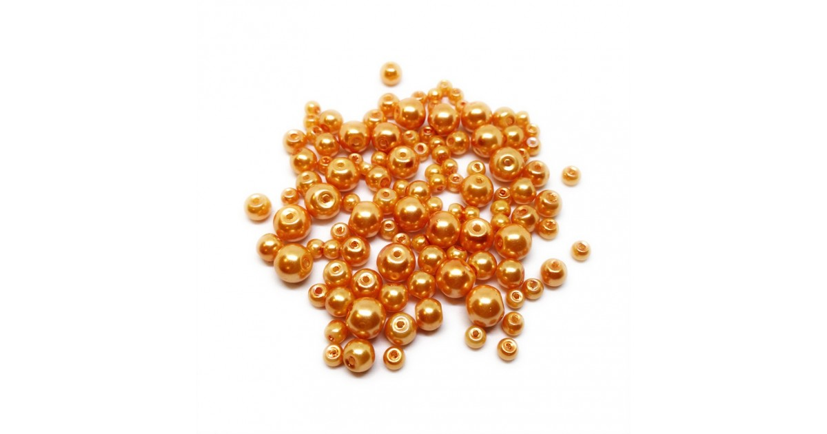 Mixed-size Satin Glass Pearl Round Beads 4 mm, 6 mm and 8 mm - Orange
