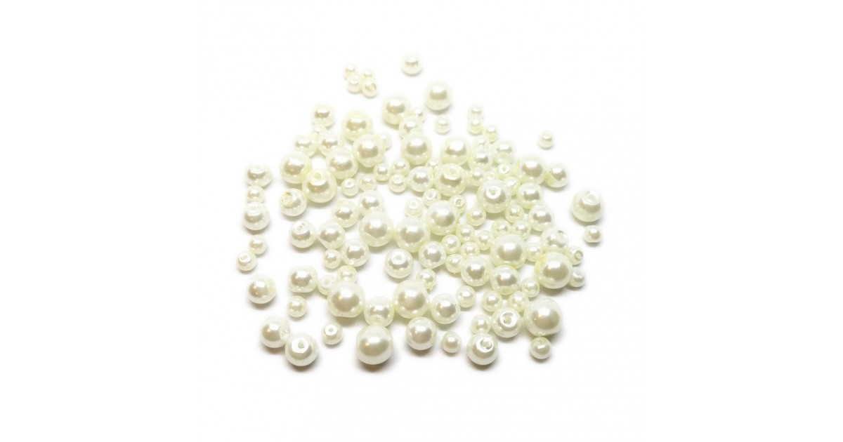 Mixed-size Satin Glass Pearl Round Beads 4 mm, 6 mm and 8 mm - Cream