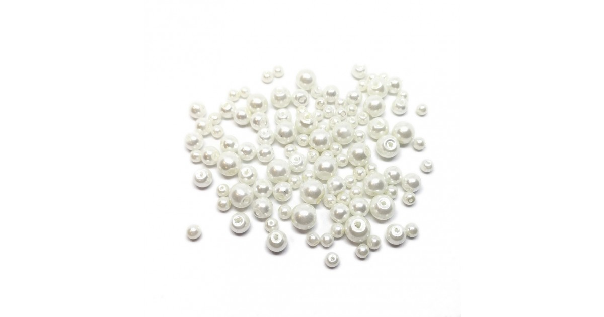 Mixed-size Satin Glass Pearl Round Beads 4 mm, 6 mm and 8 mm - White