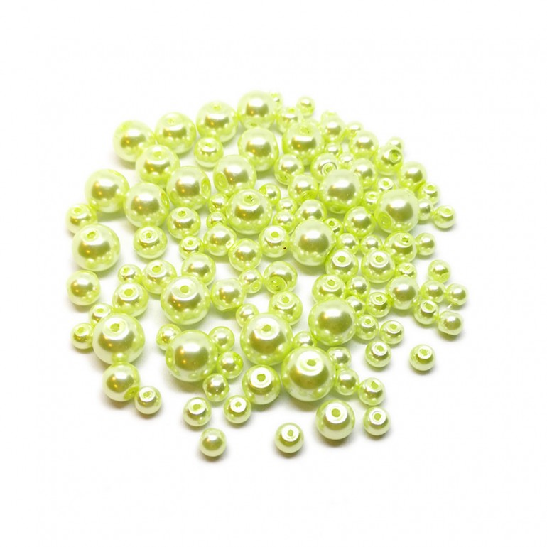 Mixed-size Satin Glass Pearl Round Beads 4 mm, 6 mm and 8 mm - Yellow