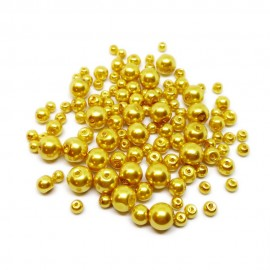Mixed-size Satin Glass Pearl Round Beads 4 mm, 6 mm and 8 mm - Gold