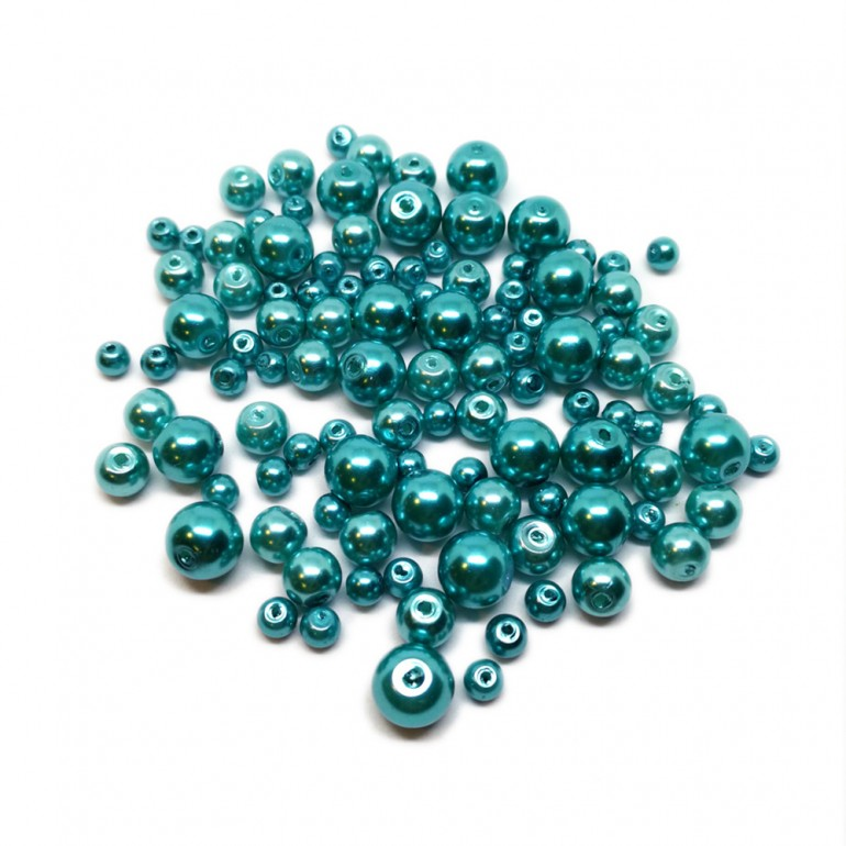 Mixed-size Satin Glass Pearl Round Beads 4 mm, 6 mm and 8 mm - Turquois Blue