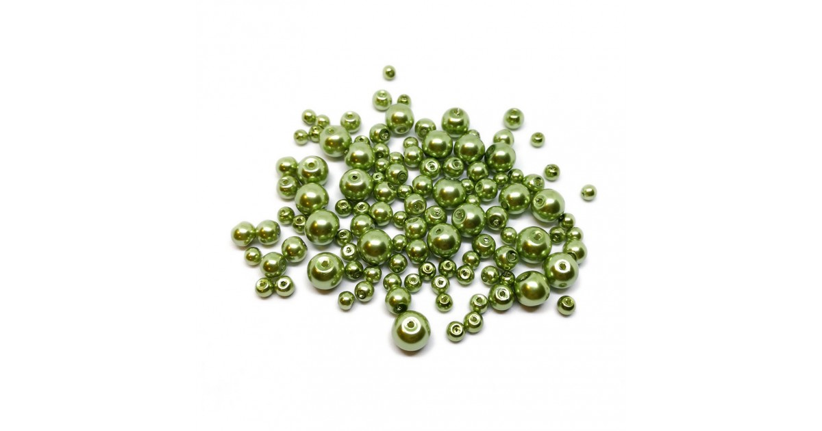 Mixed-size Satin Glass Pearl Round Beads 4 mm, 6 mm and 8 mm - Yellow - Sage Green