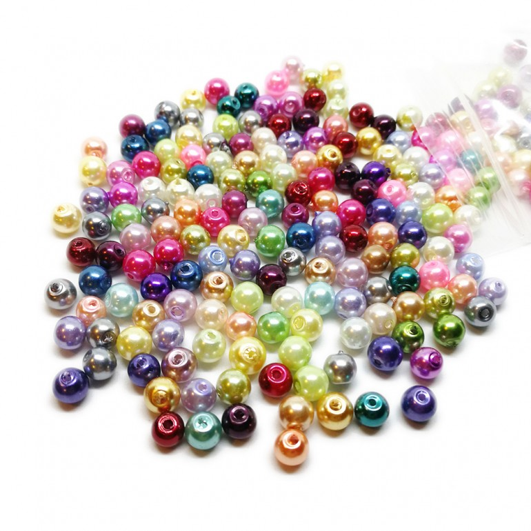 Mixed-color Satin Luster Glass Pearl Round Beads 6 mm - Assorted-Colors