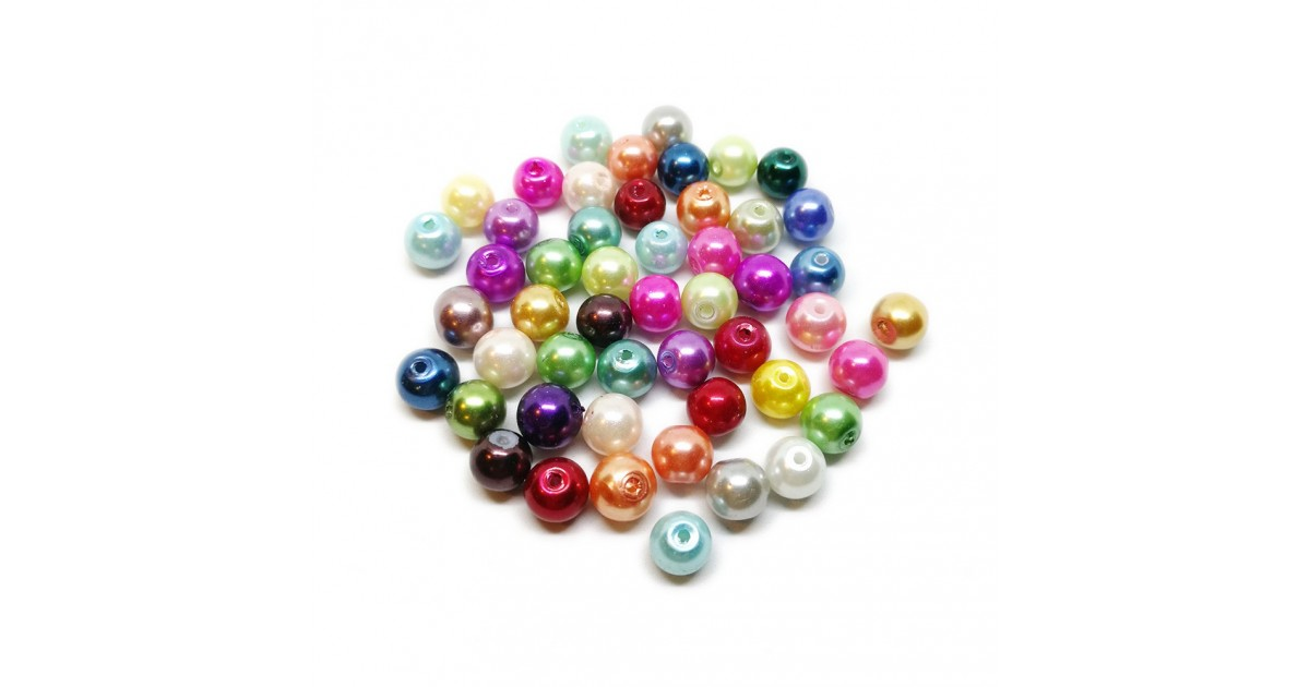 Mixed-color Satin Luster Glass Pearl Round Beads 8 mm - Assorted-Colors