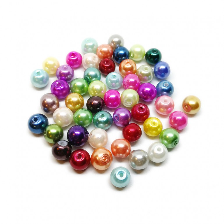 Mixed-color Satin Luster Glass Pearl Round Beads 8 mm