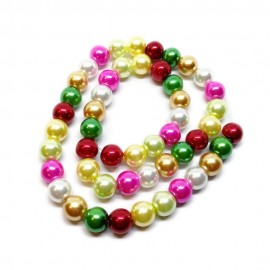 Mixed-color Satin Luster Glass Pearl Round Beads 8 mm - Christmas