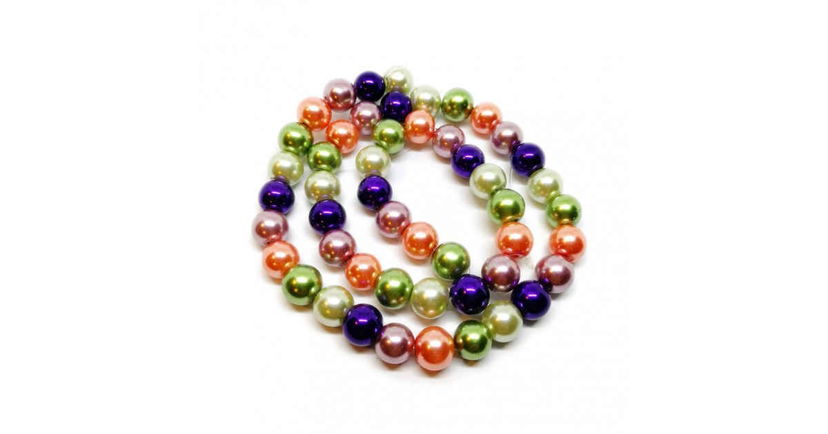 Mixed-color Satin Luster Glass Pearl Round Beads 8 mm - Halloween