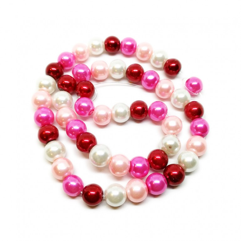 Mixed-color Satin Luster Glass Pearl Round Beads 8 mm - Romantic