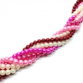 Gradual-color Mixed Glass Pearl Round Beads 6 mm - Gradual Pink