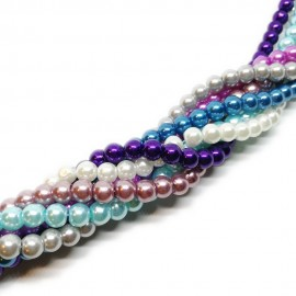 Gradual-color Mixed Glass Pearl Round Beads 6 mm - Gradual Purple-Blue