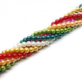 Gradual-color Mixed Glass Pearl Round Beads 6 mm - Christmas Colors