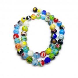 Strand of Round Millefiori Flower Glass Beads 8 mm