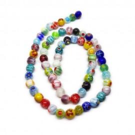 Strand of Round Millefiori Flower Glass Beads 6 mm