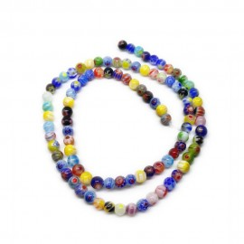 Strand of Round Millefiori Flower Glass Beads 4 mm