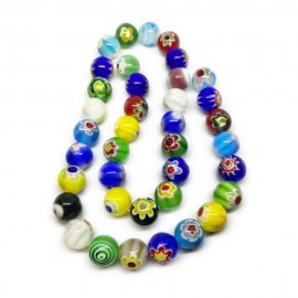 Strand of Round Millefiori Flower Glass Beads 10 mm