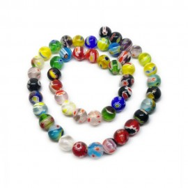 Strand of Round Millefiori Floral Glass Beads 8 mm