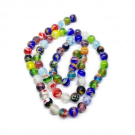 Strand of Round Millefiori Floral Glass Beads 6 mm