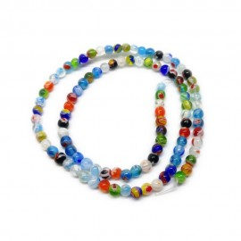 Strand of Round Millefiori Floral Glass Beads 4 mm