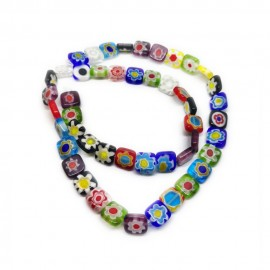 Strand of Square Millefiori Flower Glass Beads 8 mm