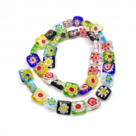 Strand of Square Millefiori Flower Glass Beads 10 mm