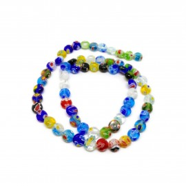 Strand of Coin Millefiori Floral Glass Beads 6 mm