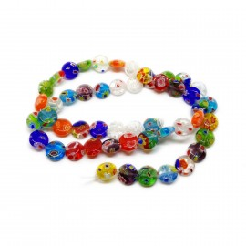Strand of Coin Millefiori Floral Glass Beads 8 mm