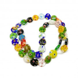 Strand of Coin Millefiori Floral Glass Beads 10 mm