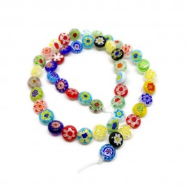 Strand of Coin Millefiori Flower Glass Beads 8 mm