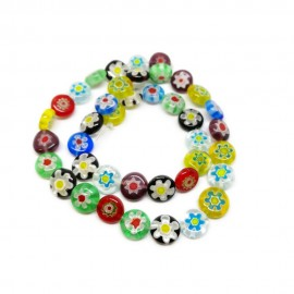 Strand of Coin Millefiori Flower Glass Beads 10 mm