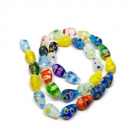 Strand of Teardrop Millefiori Floral Glass Beads 10 mm
