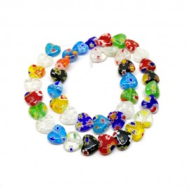 Strand of Heart Millefiori Floral Glass Beads 10 mm