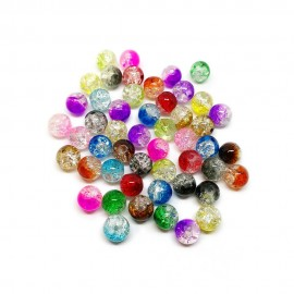 2-tone Crackle Lampwork Glass Round Beads 8 mm - Assorted-Colors